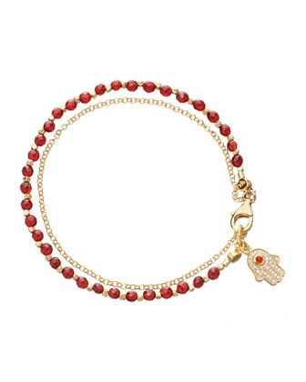 Red Agate Hamsa Friendship Bracelet
