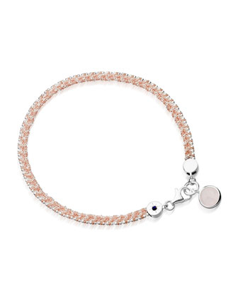 Woven Cord Bracelet with Quartz Charm, Pink
