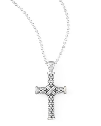 Silver Caviar Cross Necklace