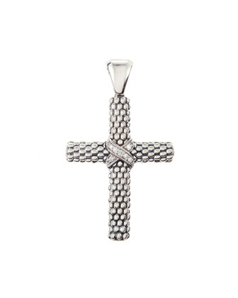 Silver Caviar Cross Pendant with Diamonds