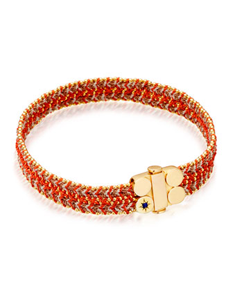Wide Cajun Shrimp Cosmos Stones Bracelet, Red
