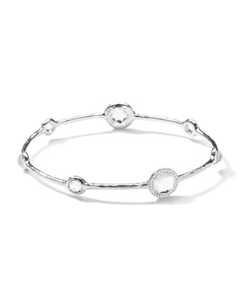 Sterling Silver Stella Bangle, Clear Quartz & Diamonds