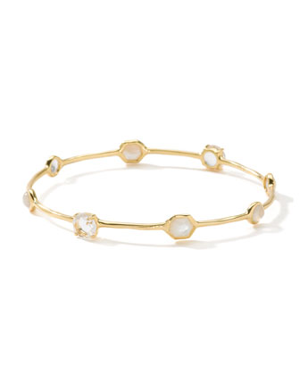 18k Gold Gelato 8-Stone Bangle, White
