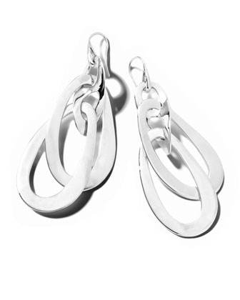 Scultura Silver Wavy Oval Jet-Set Earrings