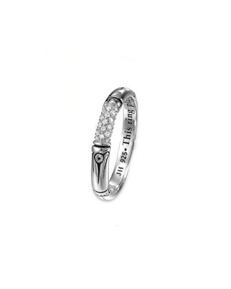Bamboo Silver Pave Diamond Slim Ring, Size 7