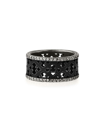 Ebonized Silver Crosses Band Ring with Diamonds