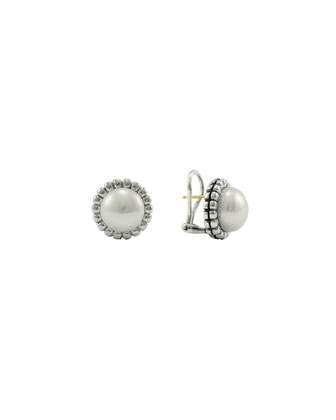 Silver Fluted 12mm Pearl Stud Earrings