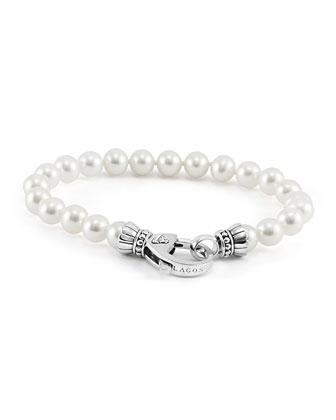 Silver Luna 7.5-8mm Pearl Bracelet