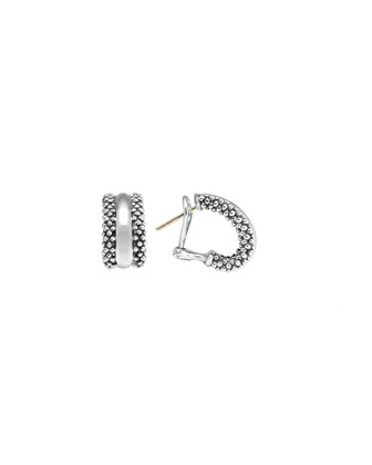 Small Silver Caviar Hoop Earrings