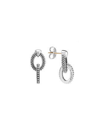 Oval Caviar Beaded Link Earrings