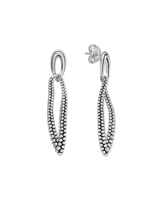 Oval Fluted & Caviar Link Earrings