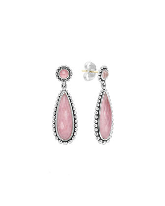 Silver Maya Rhodochrosite Drop Earrings