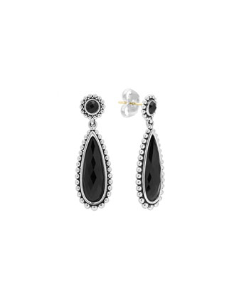 Silver Maya Black Onyx Drop Earrings