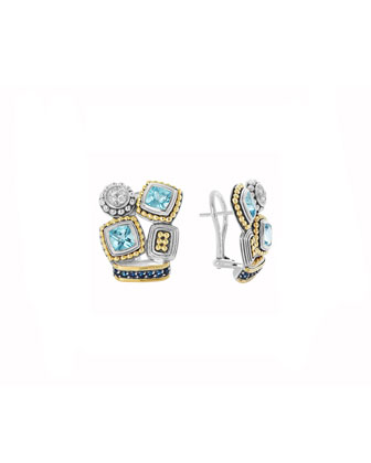 Montage Blue Stone & Diamond Stud Earrings