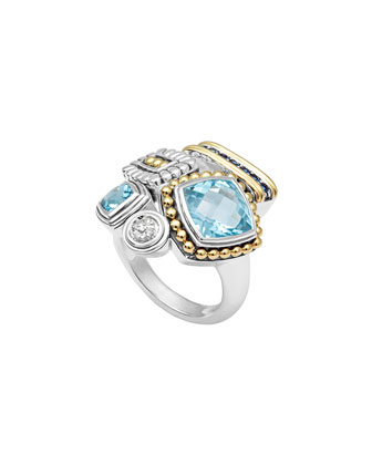 Montage Blue Stone & Diamond Ring, Size 7