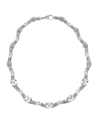 White Topaz Prism Caviar Necklace