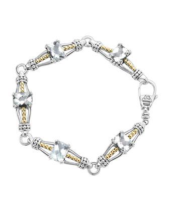 White Topaz Prism Caviar Bracelet