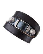 Giant 12 Leather Bracelet, Gray