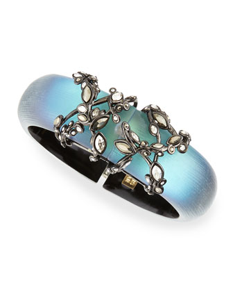 Imperial Noir Lucite Bracelet with Crystals, Black Beetle
