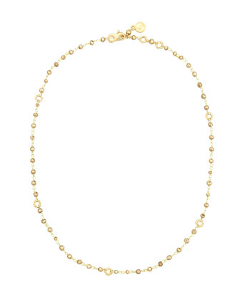 18k Yellow Gold Pyrite Delicate Bead Necklace, 20