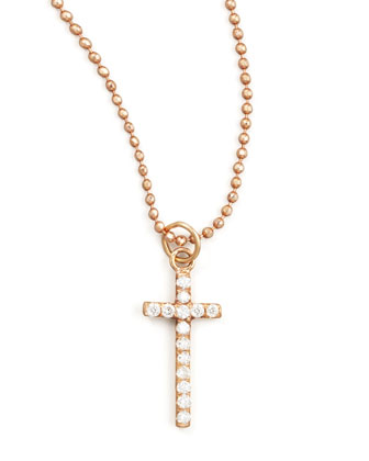 18k Rose Diamond Cross Pendant Necklace