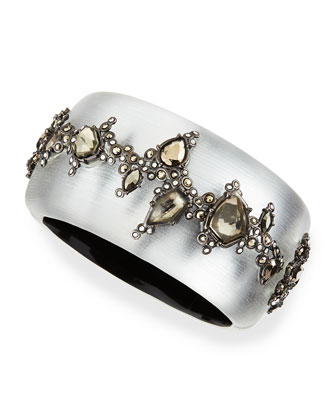 Wide Lucite Bracelet with Crystals, Gray