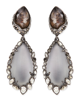 Crystal-Trim Lucite Clip-On Earrings, Gray