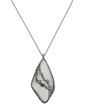 Lucite Reversible Crystal Pendant Necklace