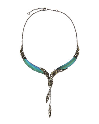 Lucite Snake Crystal Collar Necklace