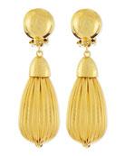 Fluted Gold Plate Teardrop Earrings
