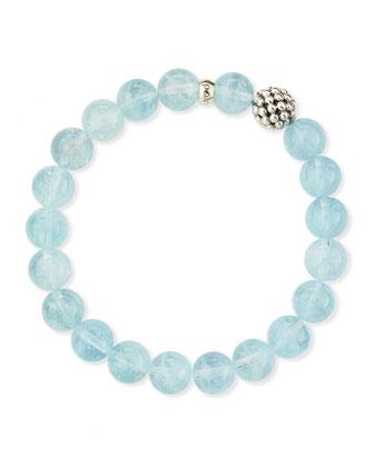 10mm Caviar-Ball Aquamarine Beaded Stretch Bracelet