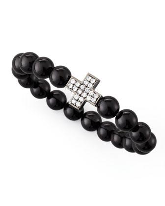 Onyx Zircon-Cross Beaded Bracelet