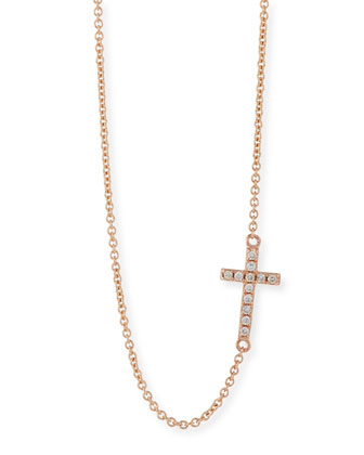 Small 14k Rose Gold Pave Diamond Cross Necklace