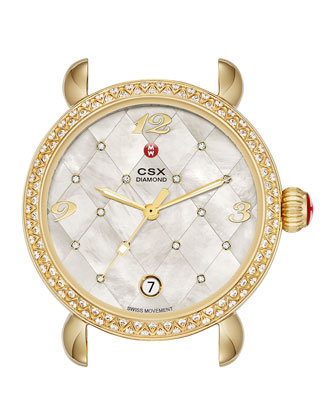 CSX-36 Diamond Gold Plated Watch Head with Quilted Dial