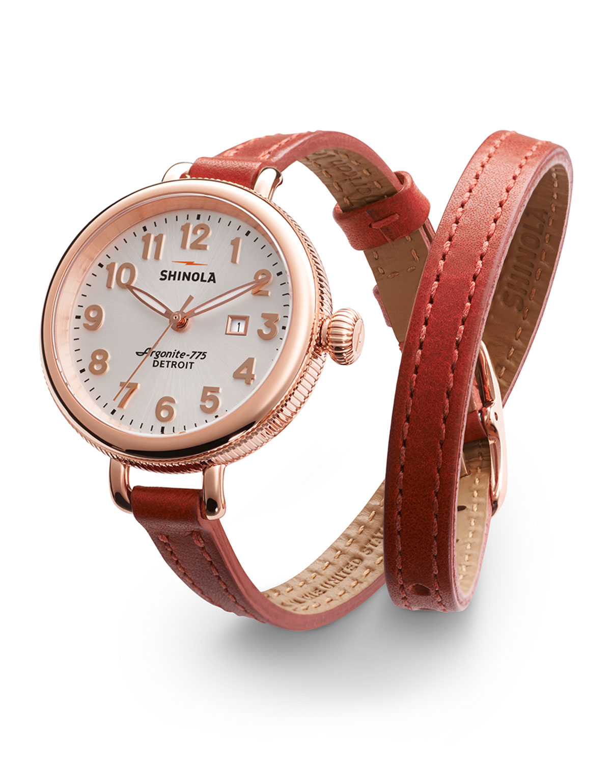 The 34mm Birdy Rose Golden Double-Wrap Watch, Red - Shinola