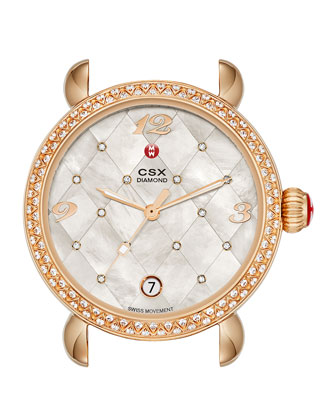 CSX-36 Diamond Rose Gold-Plated Watch Head with Quilted Dial