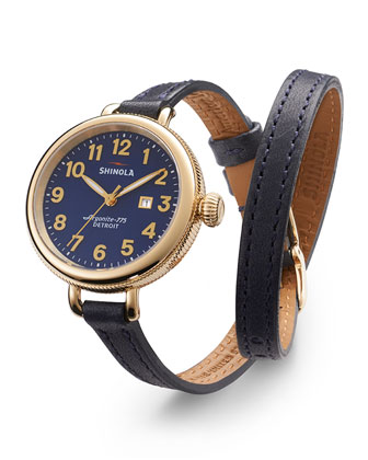 34mm Birdy Yellow Golden Double-Wrap Watch, Blue