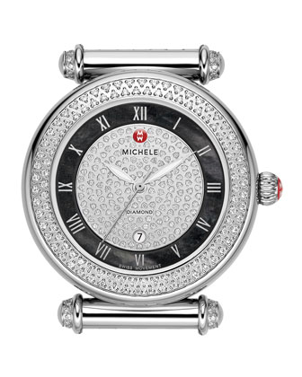 Caber Pave Diamond Watch Head, Stainless Steel/Black
