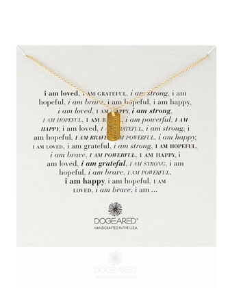 Gold-Dipped I Am Grateful Dogtag Necklace