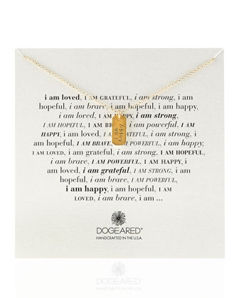 Gold-Dipped I Am Happy Dogtag Necklace