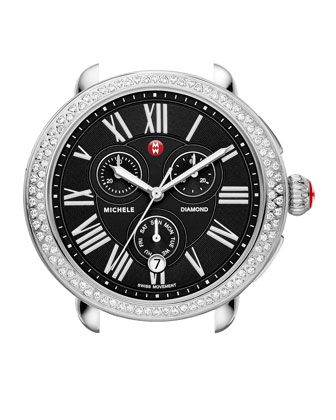 Serein Diamond Stainless Steel Watch Head with Black Dial