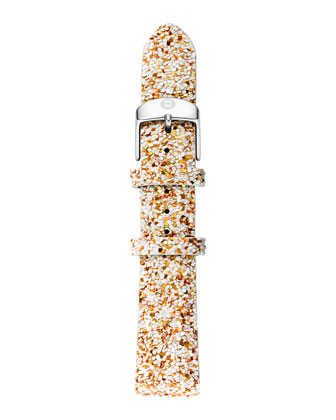 16mm Glitter Strap, White/Gold