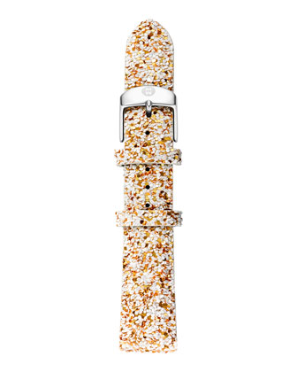 18mm Glitter Strap, White/Gold