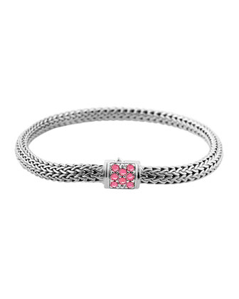 Classic Chain 5mm Extra-Small Braided Silver Bracelet, Pink Spinel