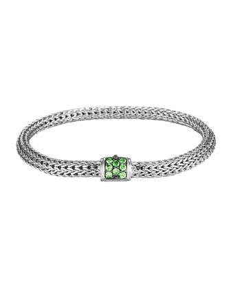Classic Chain 5mm Extra-Small Braided Silver Bracelet, Tsavorite