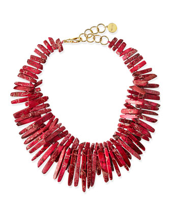 Double-Strand Pink Jasper Point Fringe Necklace
