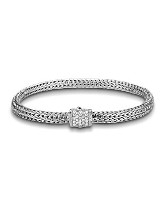 Classic Chain 5mm Extra-Small Braided Silver Bracelet, Diamond