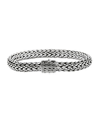 Classic Chain 6.5mm Small Braided Silver Bracelet