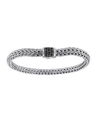 Classic Chain 6.5mm Small Braided Silver Bracelet, Black Sapphire