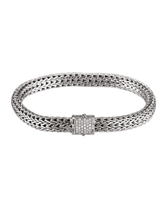 Classic Chain 6.5mm Small Braided Silver Bracelet, Diamond